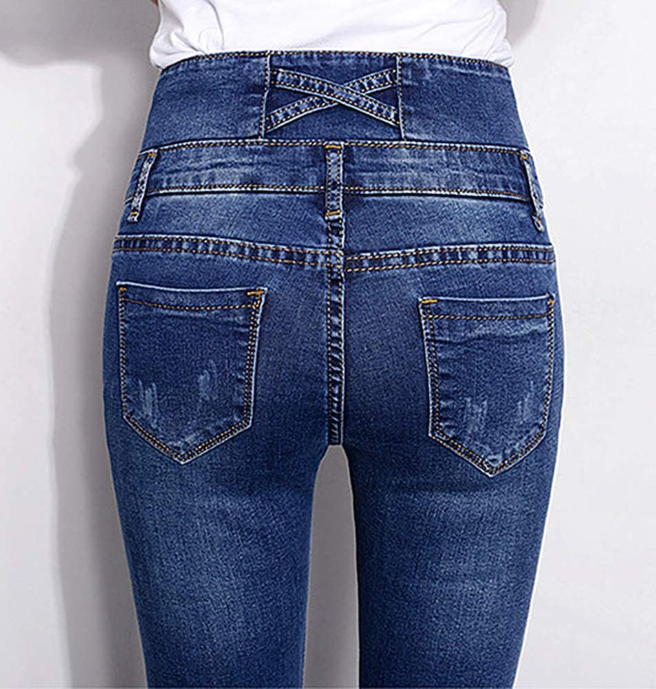Absolufun Womens Long Pencil Pants Stretch Casual 3-Button High Waisted Denim Jeans