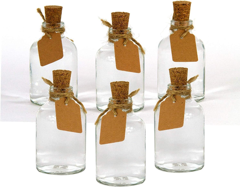 Casavetro - Juego de 12 x jarrones pequeños de 7 cm de Altura, Botellas de Vidrio, decoración, diseño de Flores de Boda, Vidrio, Blanco, 12 x jarrón