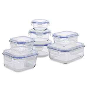 1790 Glass Food Storage Containers (14 Piece Set) - BPA FREE Airtight Locking Lids - Dishwasher, Freezer, and Microwave Safe Glass Storage Containers with Lids