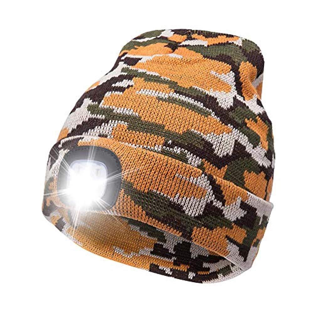 MENGZHEN 1 PC Rechargeable USB LED Tricot/é Beanie Chapeau Chapeau Courir T/ête Torche Cap pour Homme /À Tout Faire Travailler