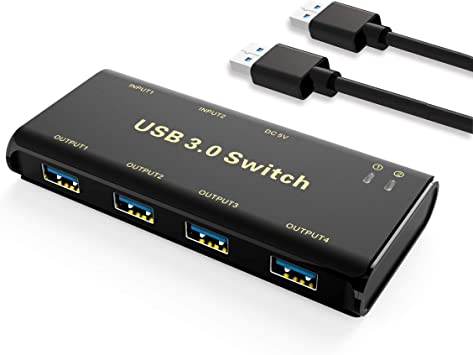 PCs with One-Button Switch and 2 Pack USB Cable USB 3.0 Switch Selector,ABLEWE KVM Switcher Adapter 4 Port USB Peripheral Switcher Box Hub for Mouse Scanner Keyboard Printer