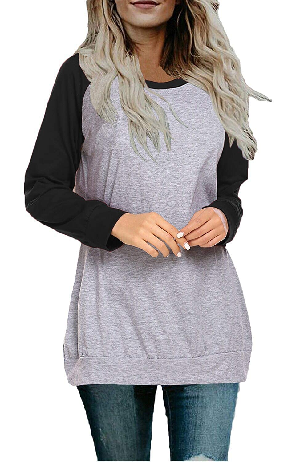 84199598e Long raglan sleeve blouses with crew neck design,loose,soft and gorgeous.  Four colors of the sleeves are available:Black,Navy Blue,Wine Red and ...