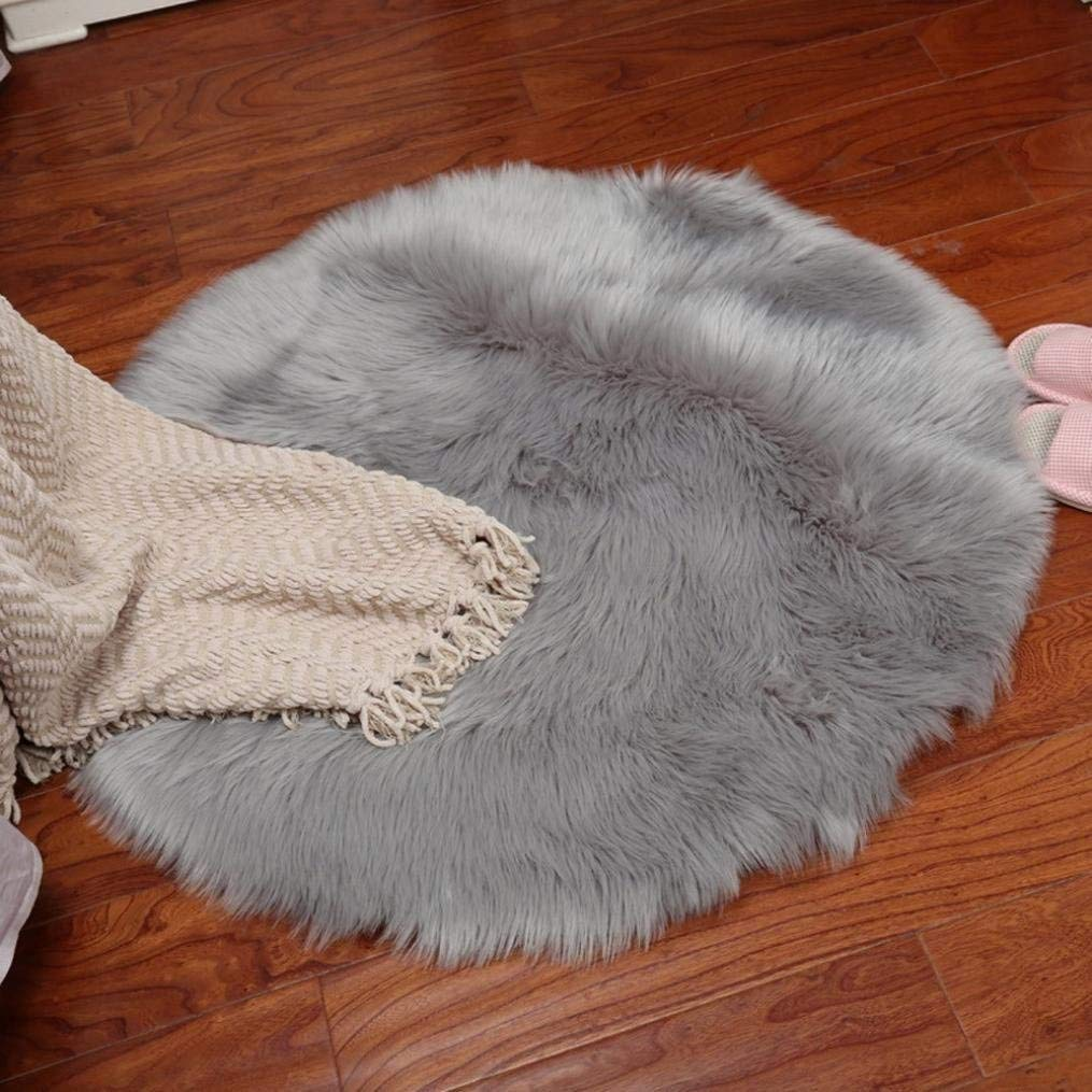 Quartly Soft Faux Sheepskin Area Rugs Supersoft Fluffy Shaggy Round Floor Carpet Mat Decorative Throw Cover- Children Play Carpet For Living & Bedroom Sofa (Gray, 45CM)