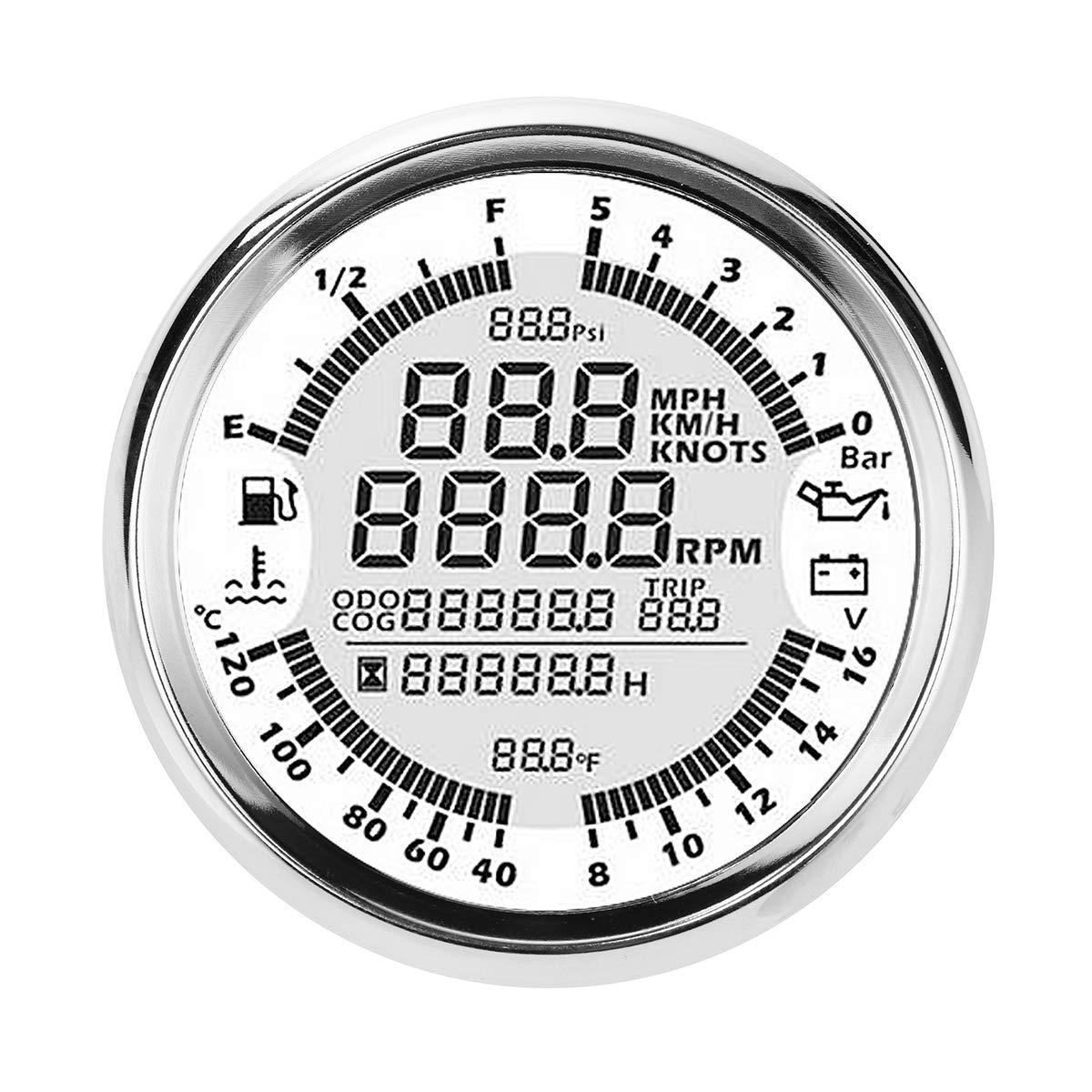 NeDonald 85mm GPS Speedometer Oil Pressure Fuel Gauge Tachometer with Antenna