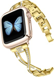 JSGJMY Bling Bands Compatible with Apple Watch Band 38mm 40mm 42mm 44mm Series 5/4/3/2/1 Women Diamond Rhinestone X-Link Metal Jewelry Bracelet(Gold+Rose Gold Adapters, 38mm/40mm)