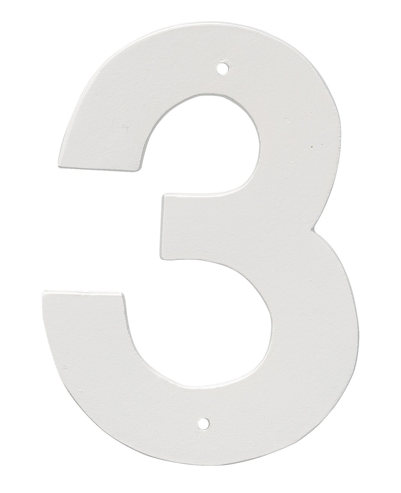Montague Metal Products 4'' Aluminum House Number 3 Outdoor Plaque, Medium, White