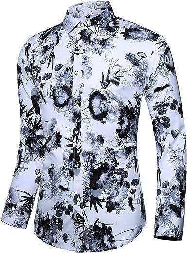 CAOQAO Camisas Hawaiana Hombre S-XXXXXL Manga Larga Impresiones múltiples 2019 Moda Blusa: Amazon.es: Ropa y accesorios