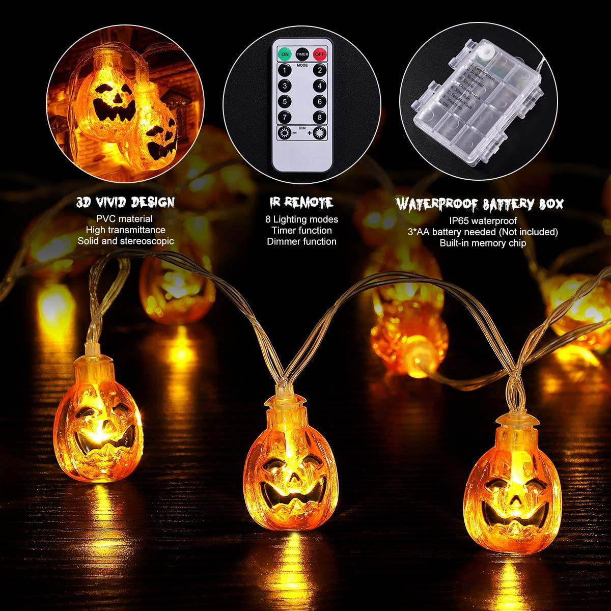 Halloween Pumpkin String Lights, 13FT LED Halloween Decoration Lights with Battery Operated for Outdoor Indoor Halloween Party