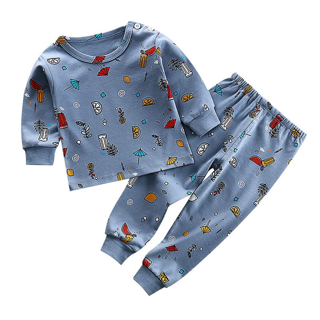 Cuteelf Herbst und Winter Kinder Herbst Kleidung Lange Hosen Anzug kleine Kinder Langarm Cartoon Rundhals Shirt Hosen Home Service Kinder Cartoon Freizeitkleidung Pyjamas