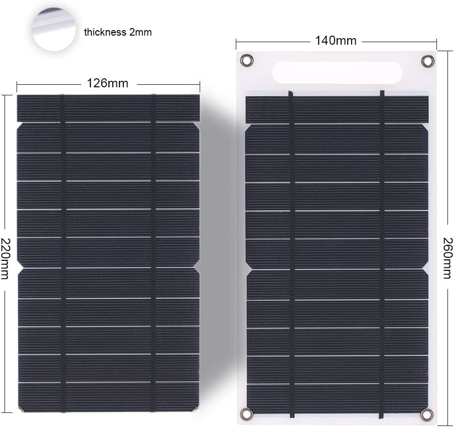 Galapara Solar Car Battery Charger Portable Solar Panel Ultra Thin Monocrystalline Silicon Solar Charger USB Port for Cell Phone Outdoor Camping Climbing Hiking