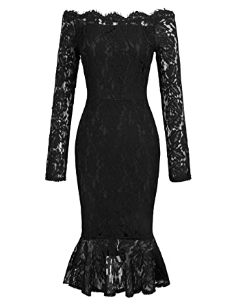 05722f4b2600 GRACE KARIN Women Floral Lace Boat Neck Mermaid Bodycon Pencil Dress ...