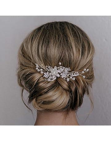 SWEETV Bridal Hair Comb Clip Pin Rhinestone Pearl Wedding Hair Accessories  for Bride Bridesmaid 9f11ad73d21d