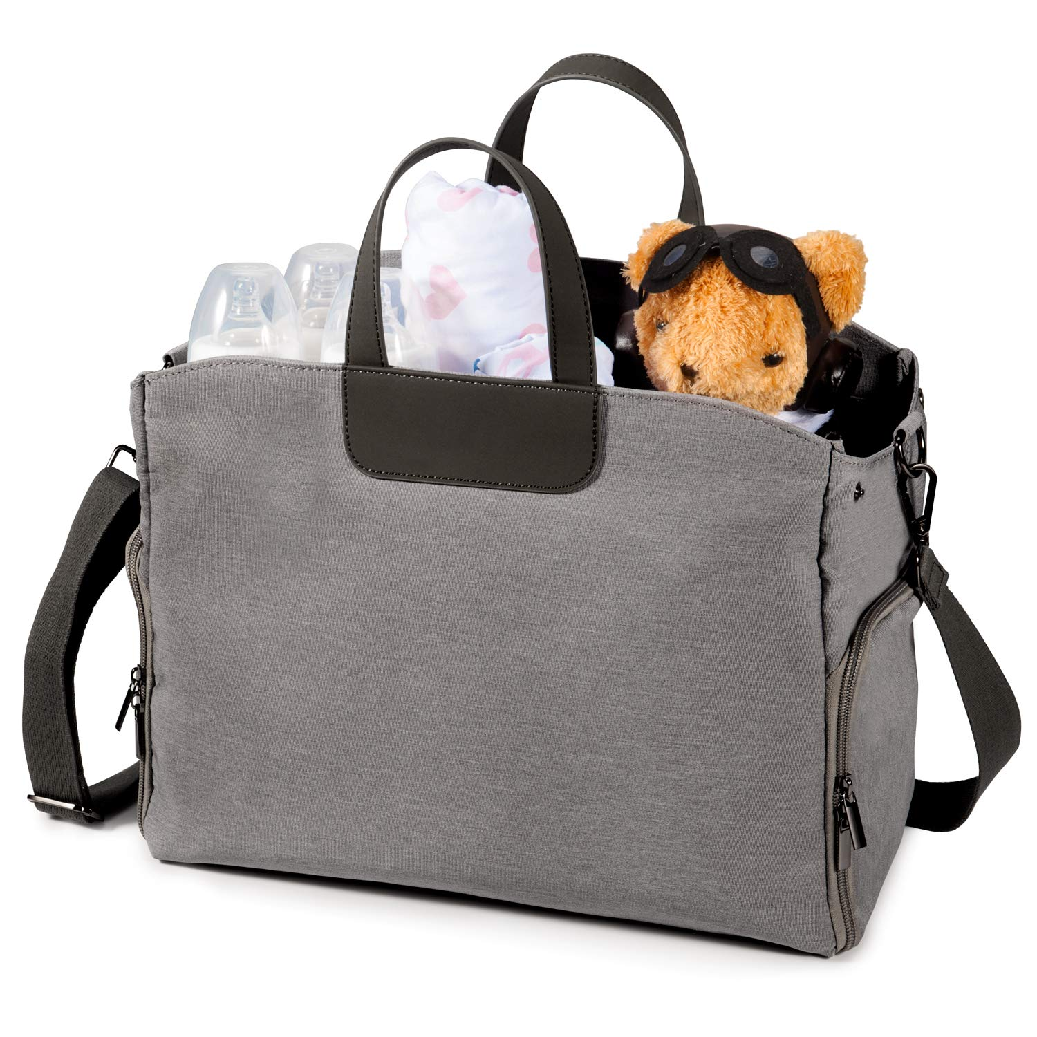 Breast Pump Bag with 3 Cooler Milk Pockets, Lupantte 16L Capacity Tote - Crossbody Travel Bag for Breastfeeding Mom, Side Opening Design, Fit Breast Pump Like Spectra, Medela, Bellababy, etc. (Grey)