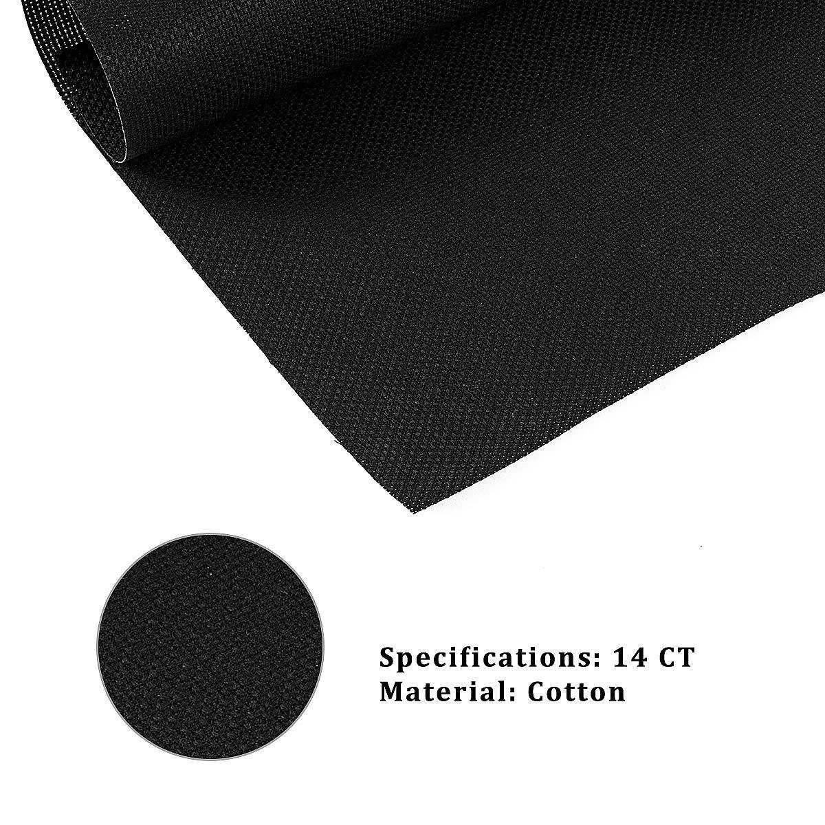 Black 6 PCS 6 Pieces 14 Count Aida Cloth Classic Reserve Cross Stitch Cloth 12 Inch x 18 Inch