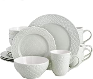 Gibson Home Quilted Eyelet Round Dinnerware Set, Service for Four (16pcs), Celadon