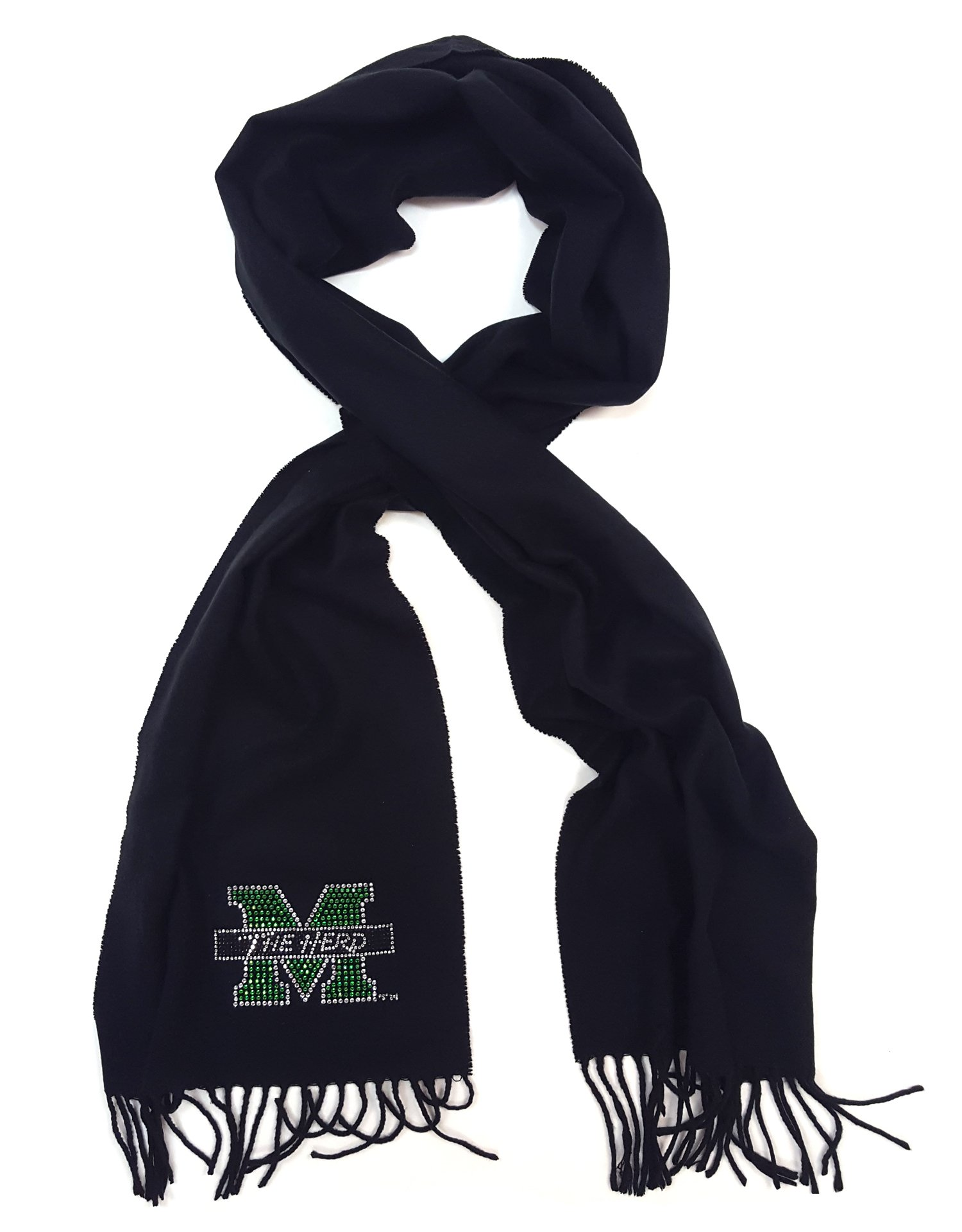 Nitro USA Fringed Cashmere Feel Scarf with Small M with The Herd bar, One Size, Black