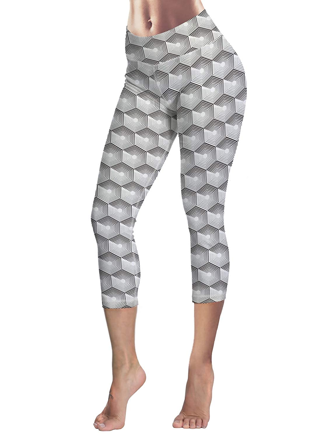 LEO BON Capri Tights Running Workout Leggings Cropped Pants Body Slimming Pants