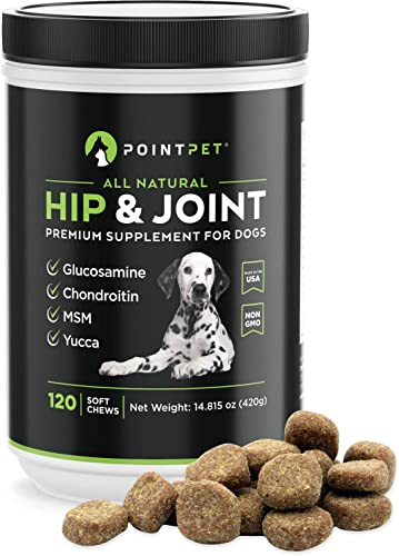 POINTPET Glucosamine for Dogs Hip and Joint Supplement Soft Chews – Dog Joint Health Treats for Dog Pain Relief – Joint Care Chews with Chondroitin MSM, Omega 3 6 Vitamin C and E – Mobility Bites