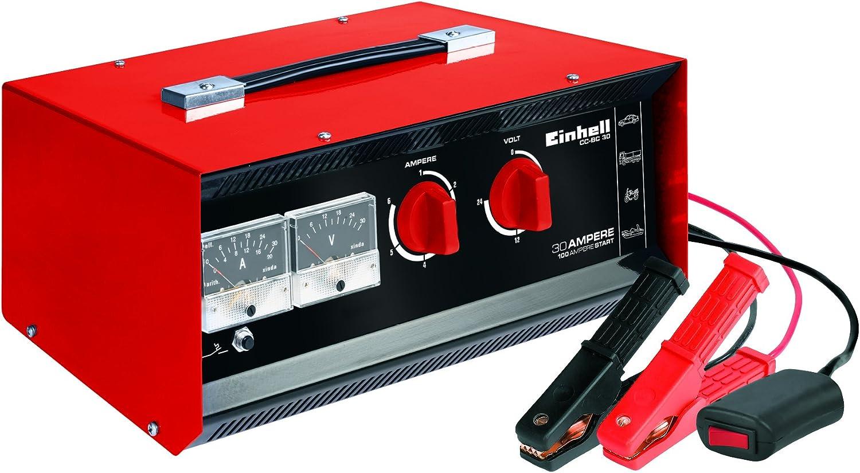 Einhell - Cargador de baterías CC-BC 30(para baterías de 3hasta 400Ah, tensión de Carga 6V/12V/24V, voltímetro y amperímetro, Cable de Arranque, asa)