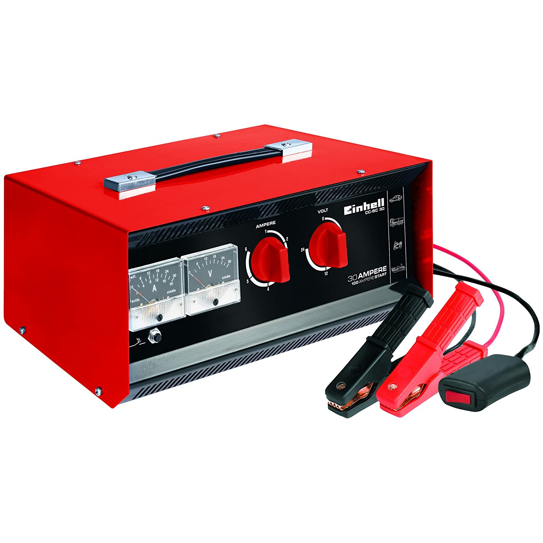 Einhell Batterie-Ladegerä t CC-BC 30 (fü r Batterien von 3 bis 400 Ah, Ladespannung wä hlbar 6 V/12 V/24 V, Volt- und Amperemeter, Fernstartkabel, Tragegriff) 1078121