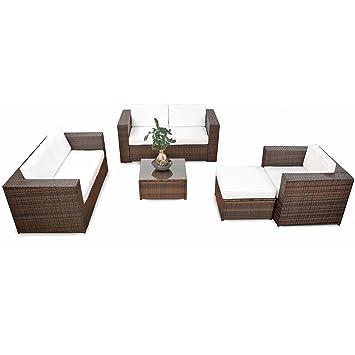 17tlg. XXL Lounge Rattan Gartenmöbel Set für Balkon und Terrasse ...