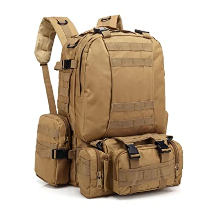f094b162e926 Backpack Large Tactical Outdoor Trekking Rucksacks Military Bag for Hiking  Camping Mountain Climbing Combined with 3