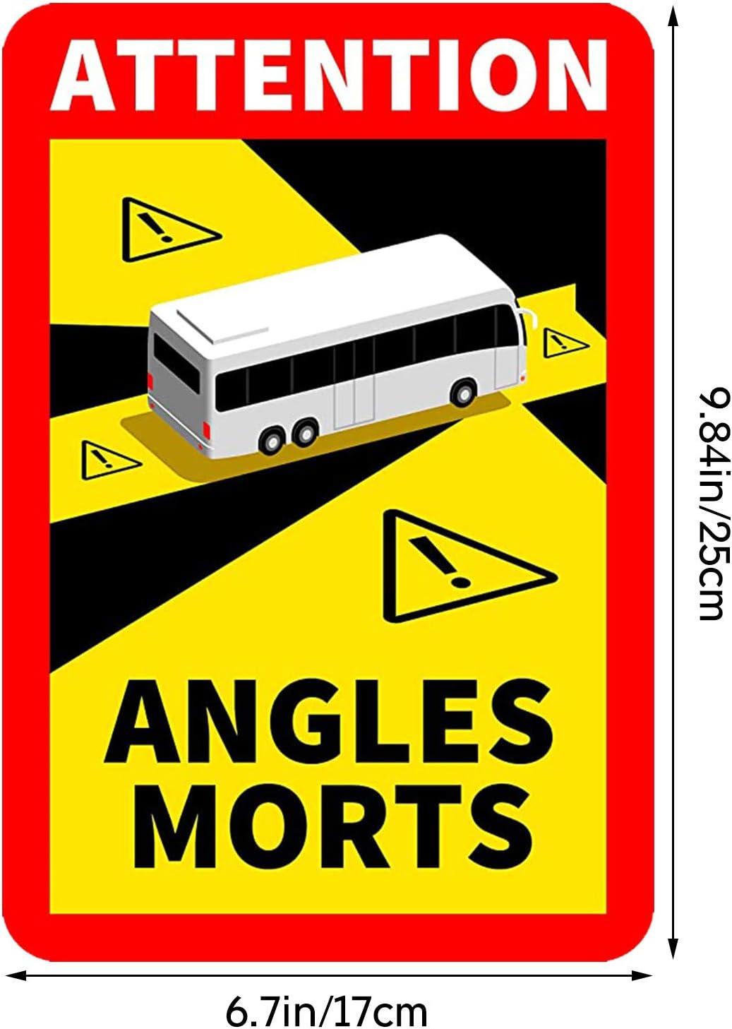 Lkw Bus Toter Winkel Aufkleber Frankreich Angles Morts Blind Spot Auf Schweren Fahrzeugen Wasserdicht L 170 X H 250 Autoaufkleber Sicherheitswarnung Auto Selbstklebend Bus 3 Stück Auto