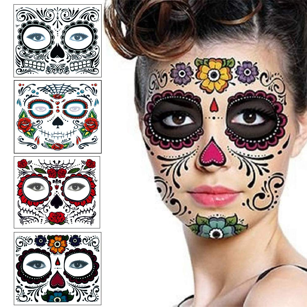 Floral Day The Dead Sugar Skull Temporary Face Tattoo Kit(4pack) KoTovisa