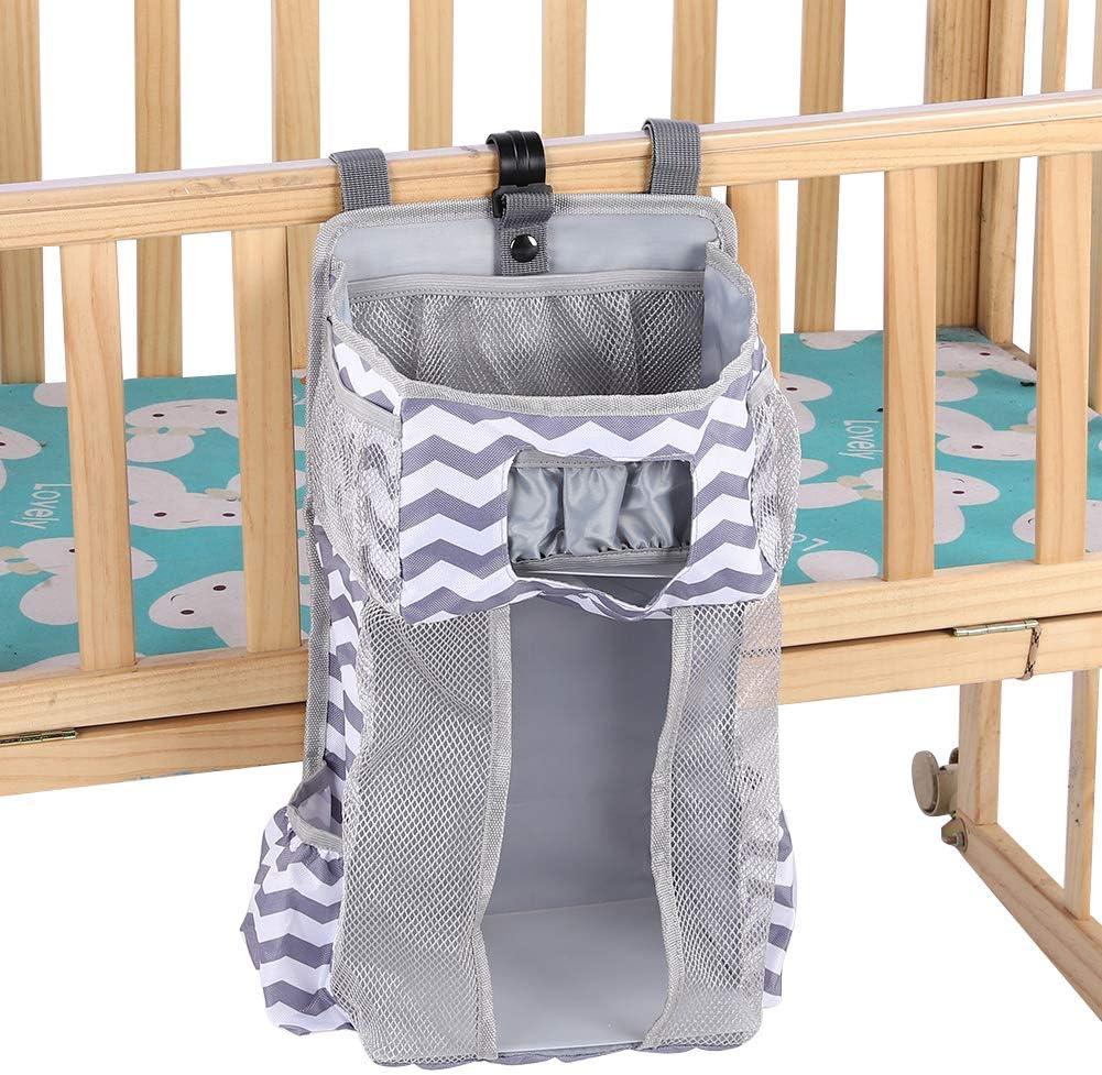 colgar en la cuna o pa/ñales cambiador juguetes Bolsa colgante de almacenamiento de cuna para beb/é Bolsa colgante de almacenamiento de doble compartimento Bolsa de almacenamiento colgante para ropa