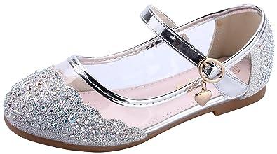 miaoshop Kinder Flache Schuhe Mary Jane Casual Slip On Ballerina Mädchen  Glas Glitzer Schuhe (31 9f48655397