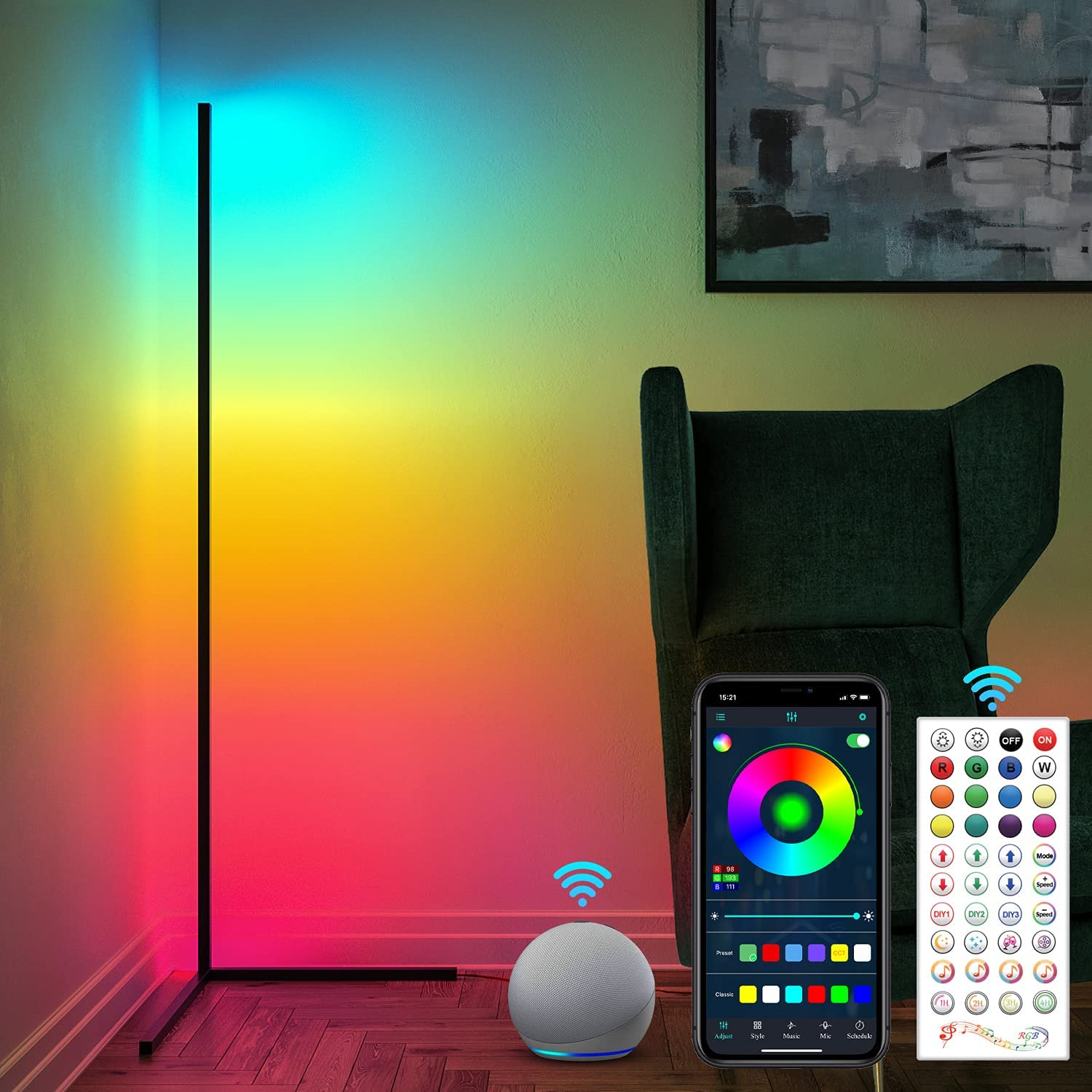 RGB Corner Lamp, Color Changing Floor Lamp for Bedroom, Works with Alexa, Google Home, Dimmable LED Corner Lamp, 61