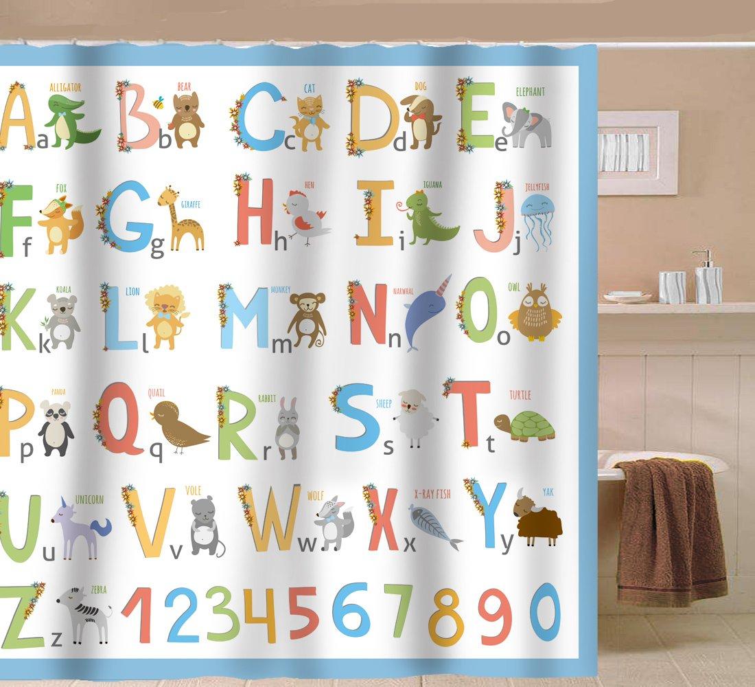 Amazon.com: Sunlit Alphabet Fabric Shower Curtain for Kids ABC ...
