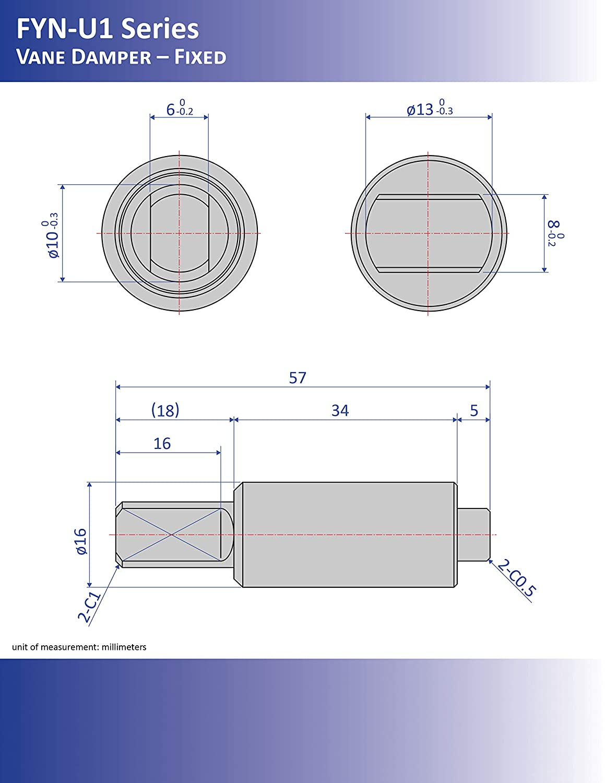 57 mm x 18 mm x 10 mm Bansbach Easylift FYN-U1-R303 Rotary Dampers//Vane Type
