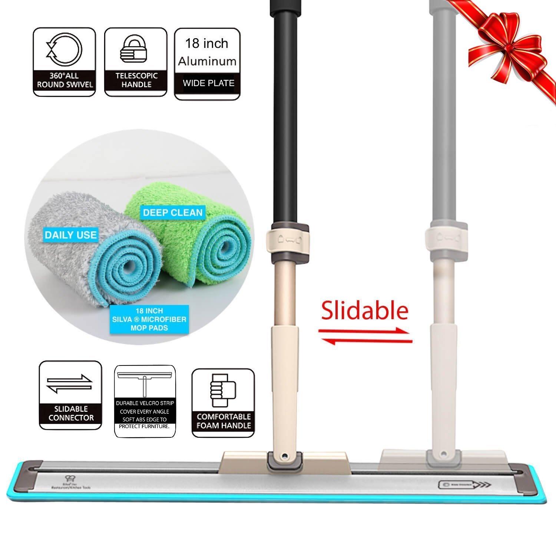 18'' Professional Silva Microfiber Mop System + 2 Free Microfiber Mop Pads + Scraper Cleaner | Efficient Slidable Plate Design | Premium Hardwood Floor Mop, Dust Mop and Tile Mop , Wet or Dry. (Mop)