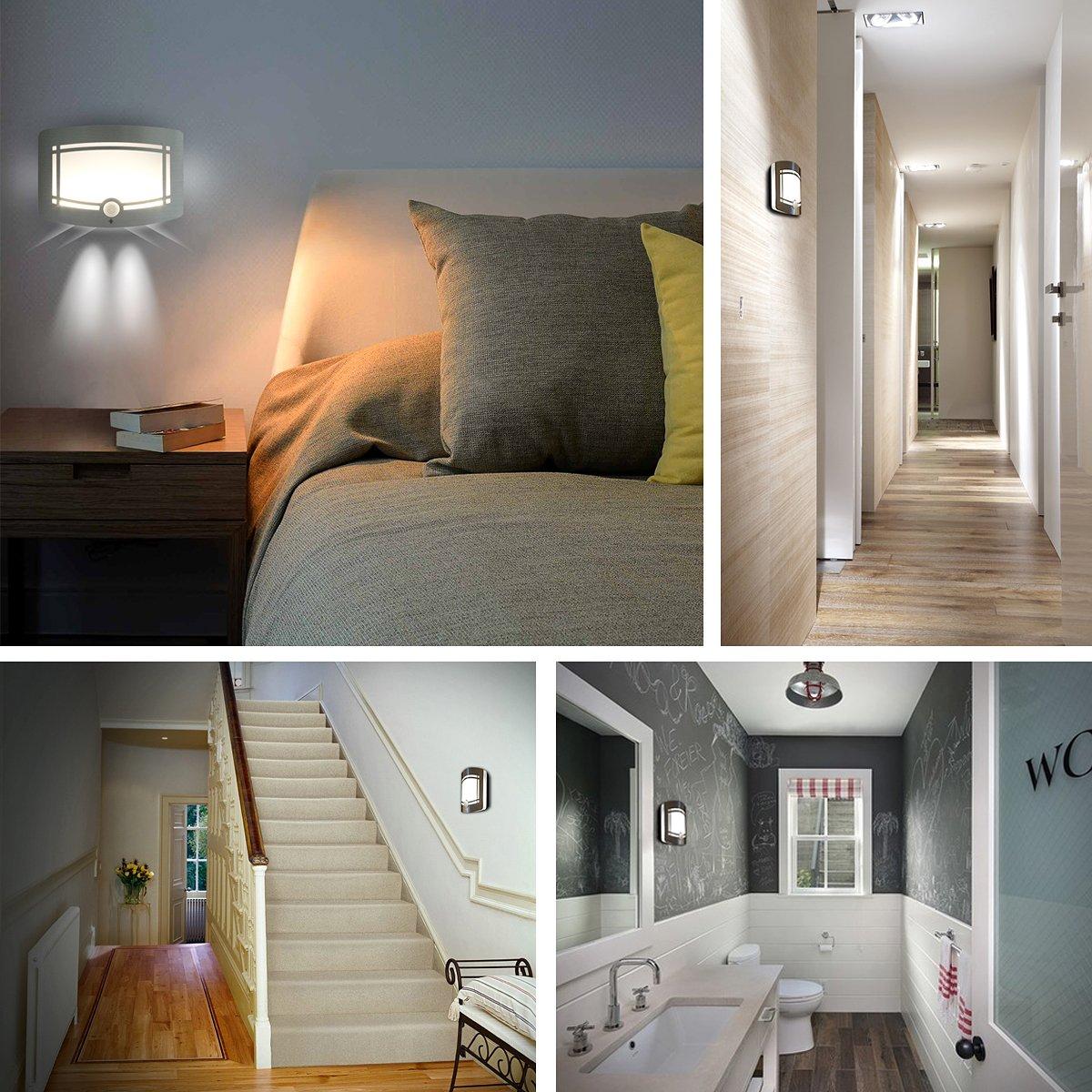 Motion Sensor LED Night Light,Wireless Battery Powered Wall Lamp,Stick Anywhere Wall Sconce,Aluminum Case Closet Light,Safe Light for Stair, Hallway,Bathrom,Bedroom,Kitchen by Kalefu (Image #6)