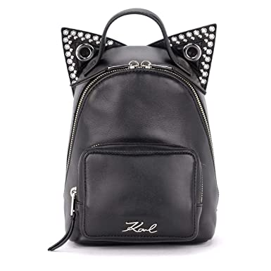 e0794a11301 Karl Lagerfeld Rocky Mini Black Leather Backpack With Cat Ears  Amazon.co.uk   Clothing