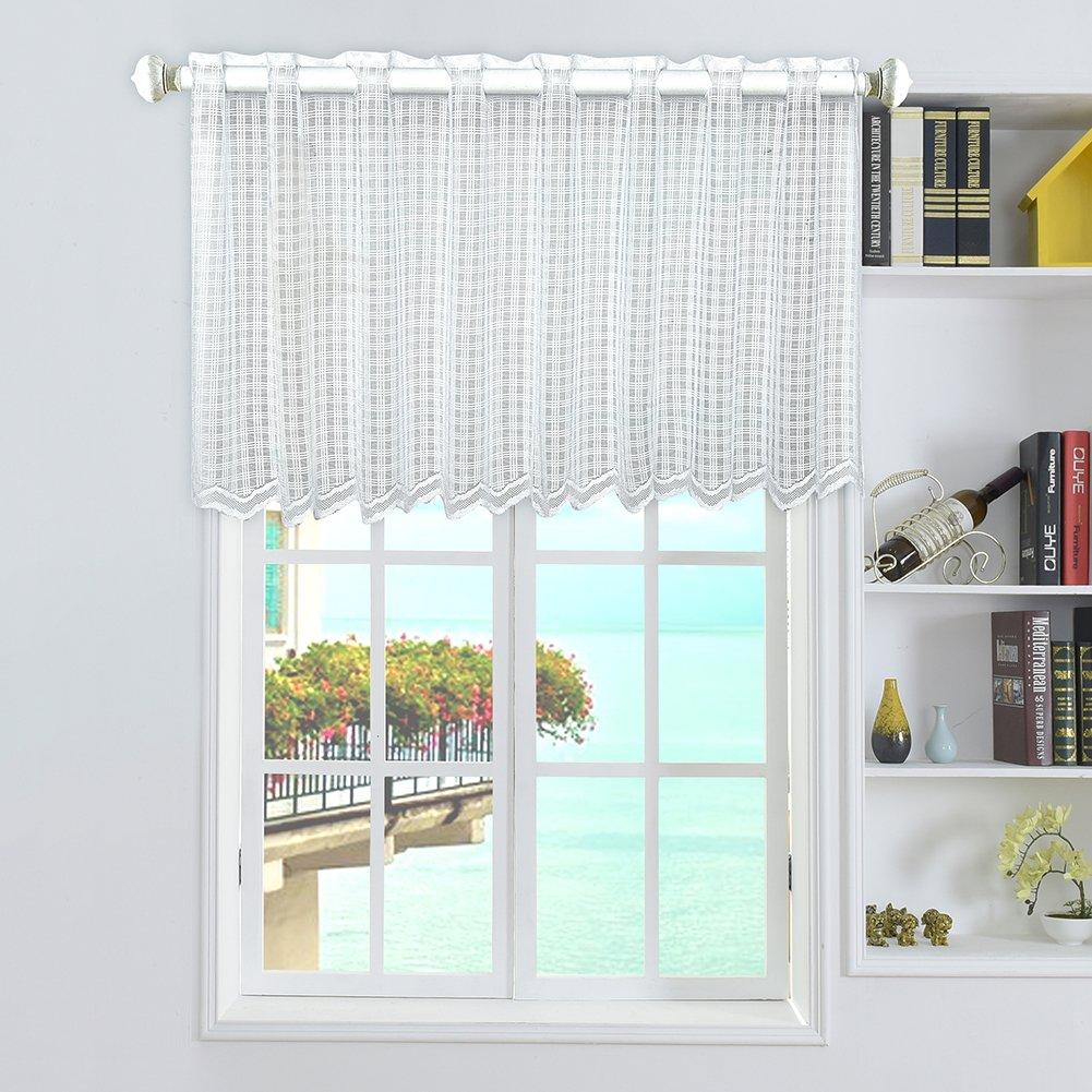 Yunt 1pc Rideau Brise-bise Court Rideau de Décoration de Fenêtre Chambre / Balcon / Cuisine 45*150cm (Type A: Rideau à Carreaux)