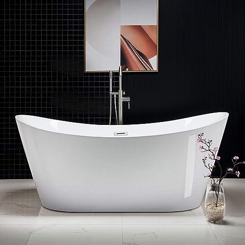 WOODBRIDGE B-0017-B/N-Drain O Acrylic Freestanding Contemporary Soaking Tub