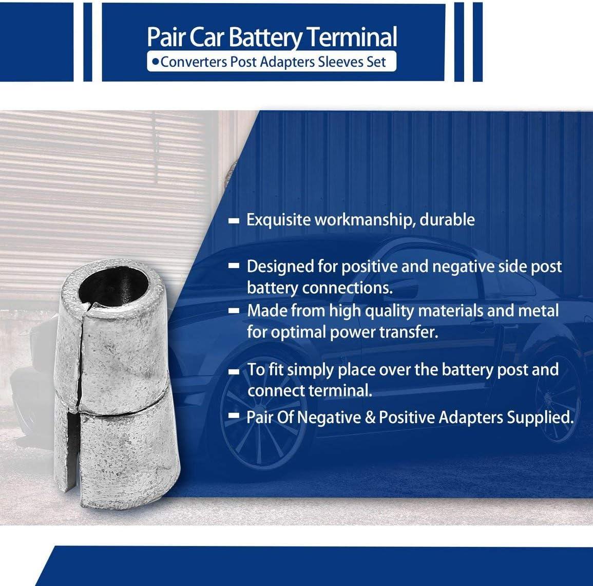 Paire de voiture Convertisseurs de bornes de batterie Adaptateurs de poteaux Set de manches Adaptateurs de poteaux de batterie 1 x NEG /& 1 x POS Couleur: argent