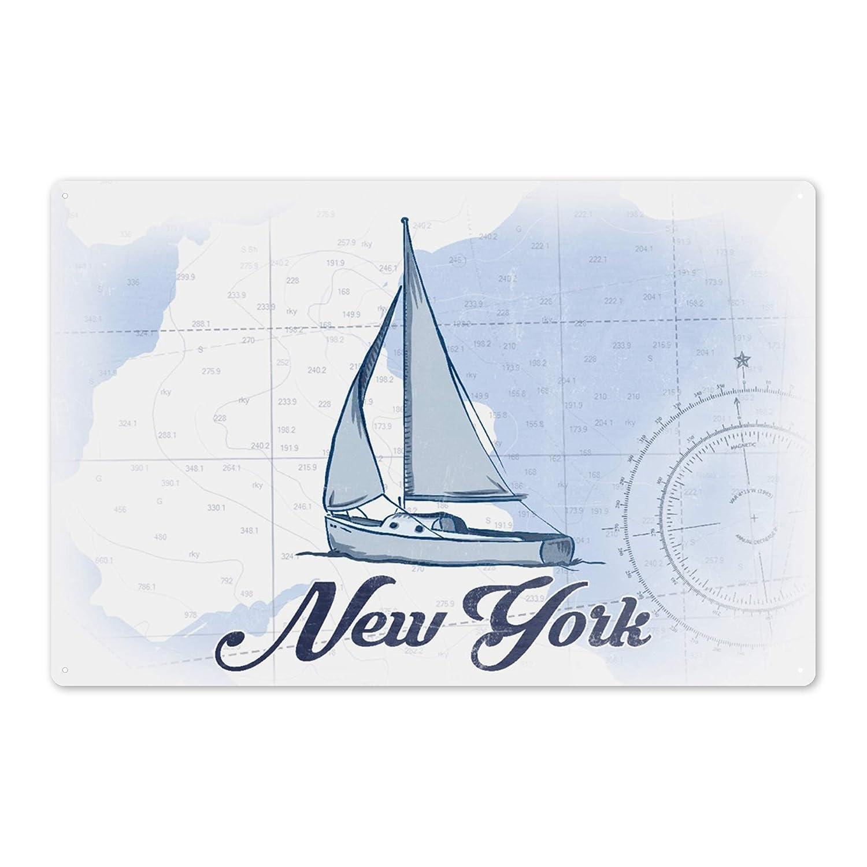 Sailboat 24x36 Giclee Gallery Print, Wall Decor Travel Poster Coastal Icon Blue New York