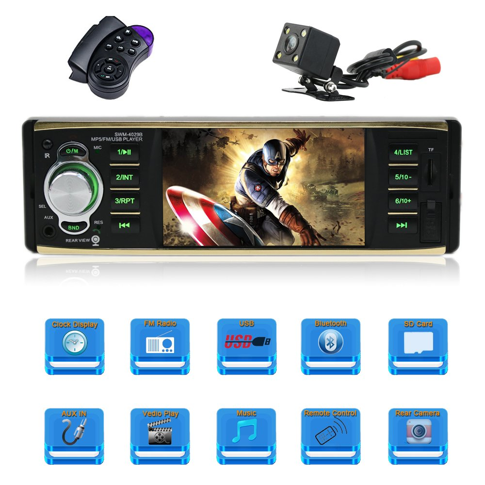 Amazon.com: 4.1 Inch Car stereo MP5 player Single Din Car stereo with  bluetooth Car radio audio support Steering Wheel Control Rear View Camera  Support USB ...