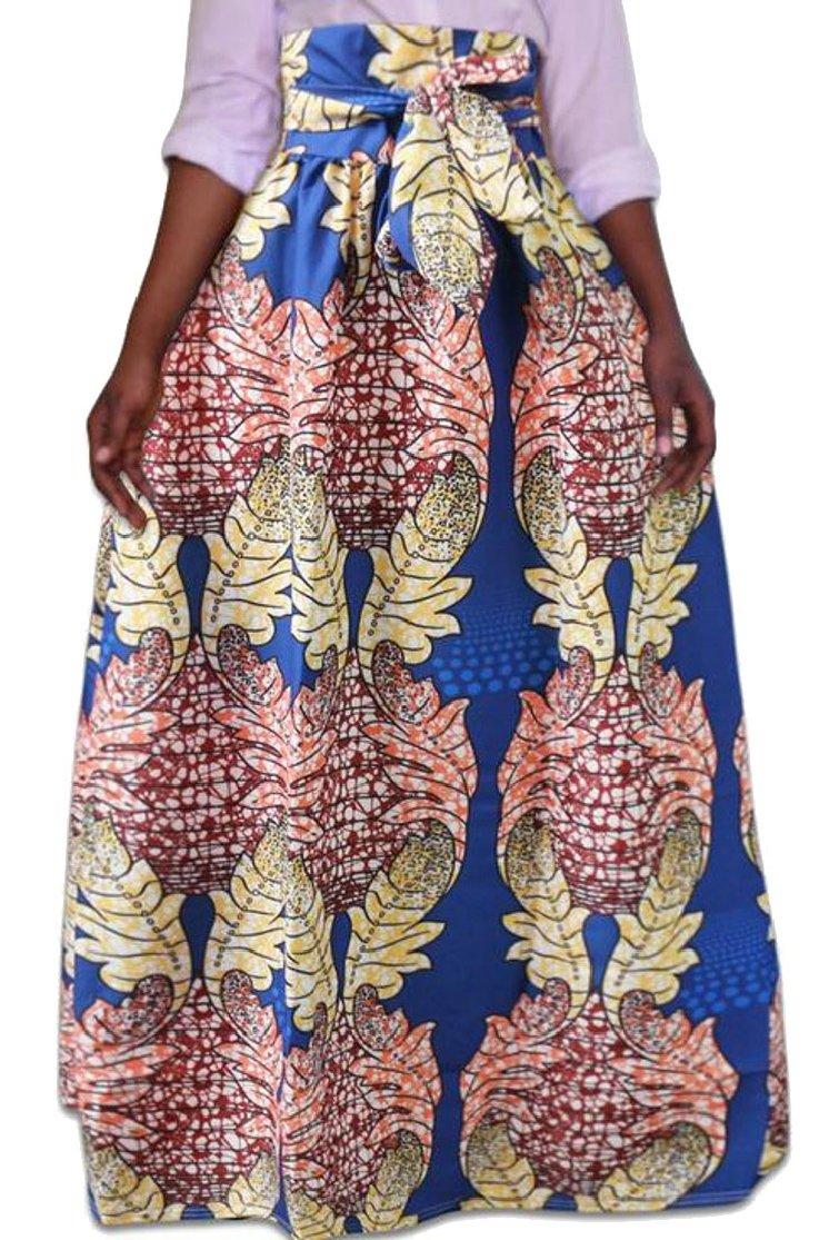 Jaycargogo Women Summer African Floral High Waist A Line Party Long Skirts 4 3XL