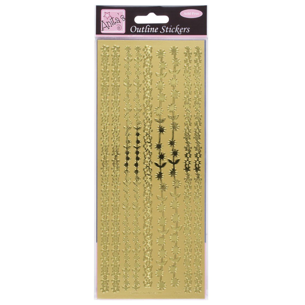 Anitas outline peel off craft stickers - Floral Borders Gold Anita's ANT8101020
