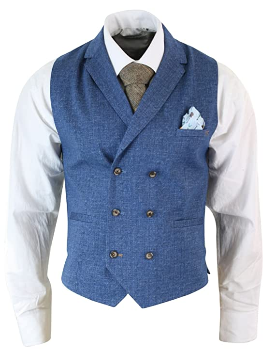 1920s Style Mens Vests Cavani Mens Vintage Peaky Blinders Double Breasted Waistcoat Tweed Check Smart Casual Light-Grey 36 $73.99 AT vintagedancer.com