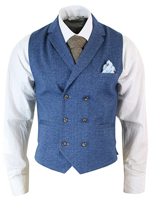 Men's Vintage Vests, Sweater Vests Mens Vintage Peaky Blinders Double Breasted Waistcoat Tweed Check Smart Casual £34.99 AT vintagedancer.com