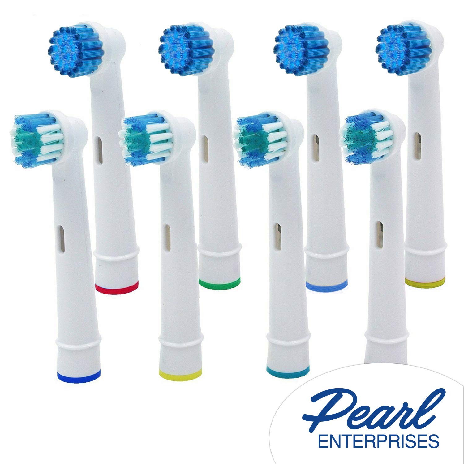 Pearl Enterprises Replacement Brush Heads Compatible With Oral B- Variety Pack of 8 Generic Sensitive Clean and Precision Care Electric Toothbrush Heads –Fits Oralb Braun 7000, Pro 1000, 9600, 500.