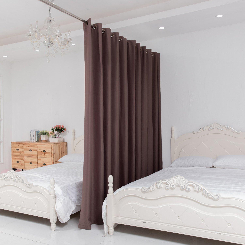 allzone room divider tension curtain rod 124 140 inch no drilling never ebay. Black Bedroom Furniture Sets. Home Design Ideas