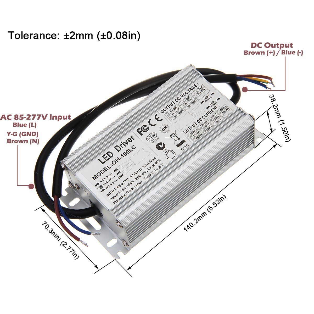 Chanzon Led Driver 3000ma Constant Current Output 21v 34v In85 Watt Circuit At 220v 110v Mains Voltage Diagram 277v Ac Dc 7 10x10 70w 80w 90w 100w Ip67 Waterproof High Power Supply 3000 Ma Lighting