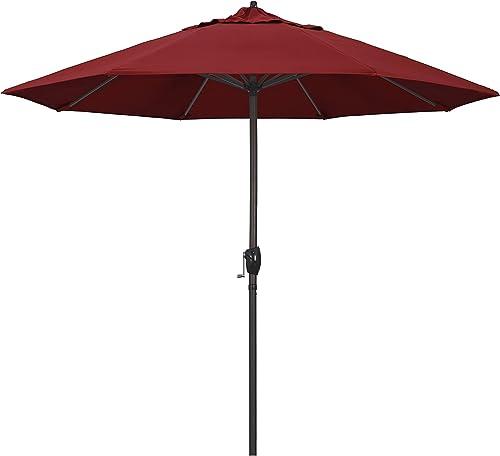 California Umbrella ATA908117-SA03 9 Round Aluminum, Pacifica Red Market Umbrella, Crank Lift, Auto Tilt, Bronze Pole