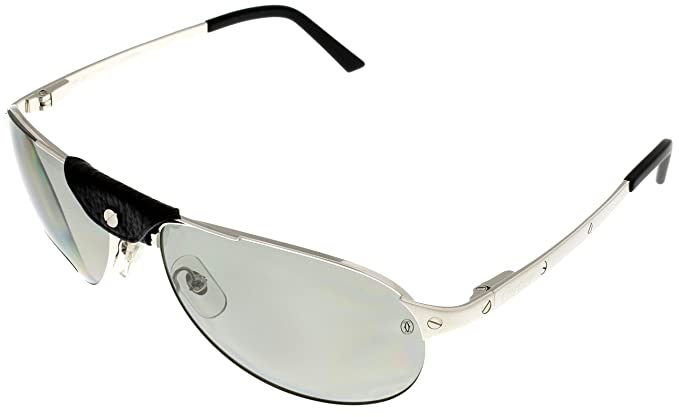 3920925c36 Image Unavailable. Image not available for. Colour  Cartier Edition SANTOS-Dumont  Sunglasses Aviator Silver Polarized T8200802. Roll over image to zoom in